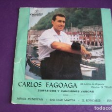 Discos de vinilo: CARLOS FAGOAGA EP COLUMBIA 1963 - ZORTZICOS Y CANCIONES VASCAS - FOLK TRADICIONAL EUSKADI. Lote 174907204