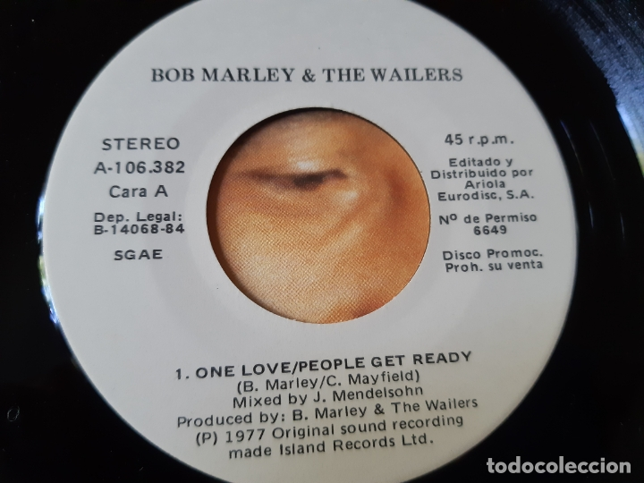 Discos de vinilo: BOB MARLEY- ONE LOVE- SPAIN PROMO SINGLE 1984- VINILO COMO NUEVO. - Foto 3 - 175011880