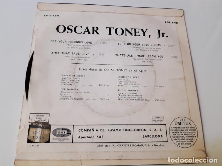 Discos de vinilo: OSCAR TONEY JR.- FOR YOUR PRECIOUS LOVE - SPAIN 1966. - Foto 2 - 175027368