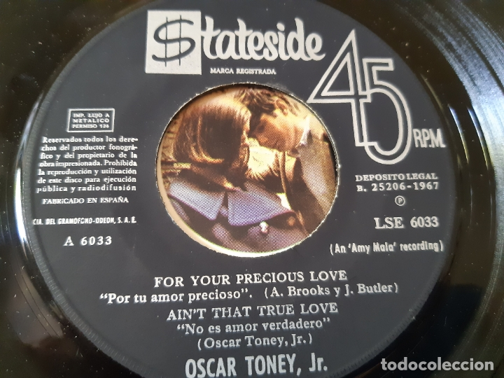 Discos de vinilo: OSCAR TONEY JR.- FOR YOUR PRECIOUS LOVE - SPAIN 1966. - Foto 3 - 175027368