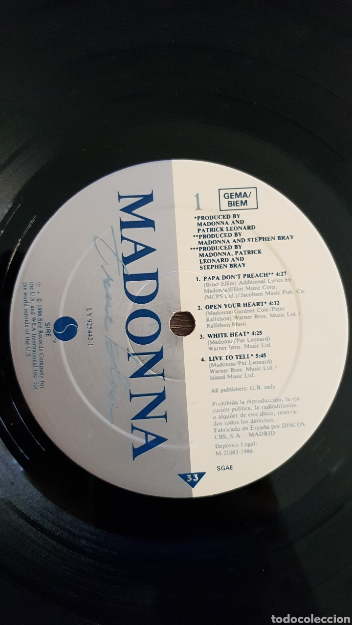 Discos de vinilo: MADONNA TRUE BLUE DISCO VINILO 1986 LP CON ENCARTE - Foto 4 - 175027988