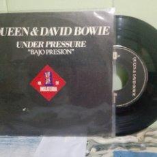 Discos de vinilo: DAVID BOWIE & QUEEN UNDER PRESSURE SINGLE SPAIN 1981 PDELUXE. Lote 175035879