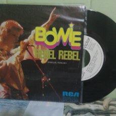 Discos de vinilo: DAVID BOWIE REBEL REBEL SINGLE SPAIN 1974 PDELUXE. Lote 175039823