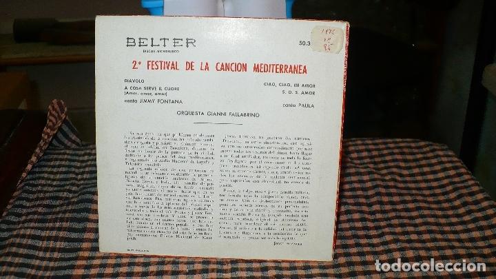 Discos de vinilo: 2º festival cancion mediterranea, jimmy-diavolo, amor amor amor / paula, ciao ciao mi amor, sos amor - Foto 2 - 175088938