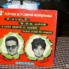 Discos de vinilo: 2º FESTIVAL CANCION MEDITERRANEA, JIMMY-DIAVOLO, AMOR AMOR AMOR / PAULA, CIAO CIAO MI AMOR, SOS AMOR. Lote 175088938