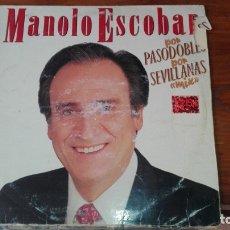Discos de vinilo: MANOLO ESCOBAR - POR PASODOBLES - POR SEVILLANAS MIX LP 1989 SPAIN + ORIGINAL ALBUM. Lote 175222459
