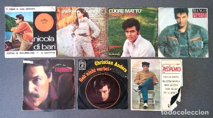 LOTE SINGLES NICOLA DI BARI GIGLIOLA CINQUETTI LITTLE TONY MANGO TOQUINO CHRISTIAN ANDERS ADAMO (Música - Discos de Vinilo - EPs - Canción Francesa e Italiana)