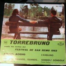 Discos de vinilo: TORREBRUNO ADDIO, ADDIO +3 EP HISPAVOX 1962. Lote 175279530