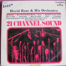 Disques de vinyle: LP - DAVID ROSE AND HIS ORCHESTRA - 21 CHANNEL SOUND (SPAIN, MGM RECORDS 1965). Lote 175283505