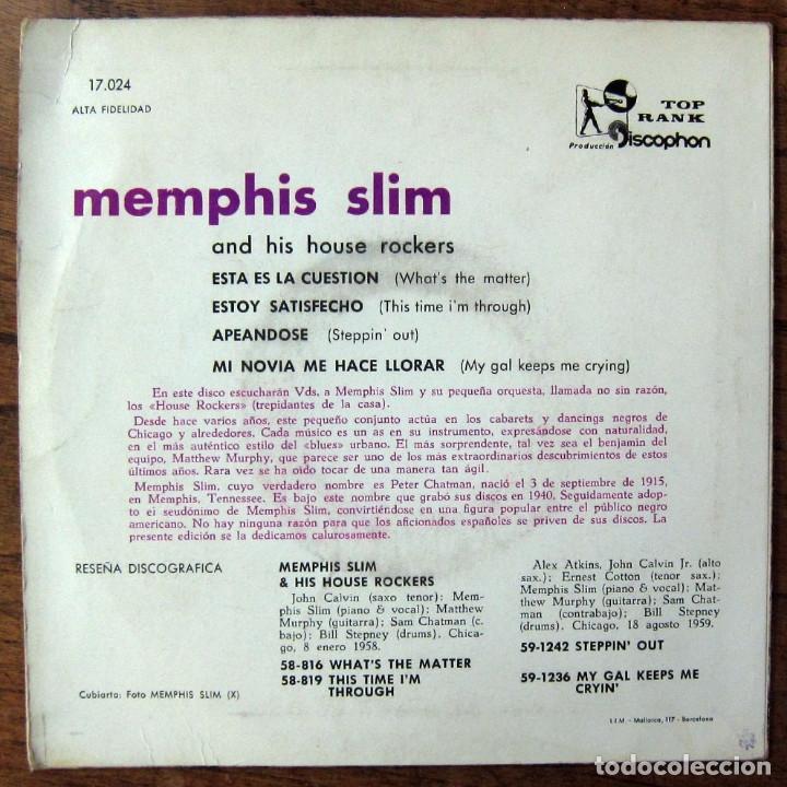 Discos de vinilo: EP - MEMPHIS SLIM Y SUS HOUSE ROCKERS - WHAT'S THE MATTER - 1960 - VINILO AZUL - Foto 2 - 175292578