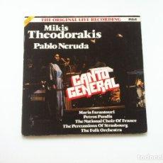 Discos de vinilo: MIKIS THEODORAKIS, PABLO NERUDA. CANTO GENERAL. Lote 175344802