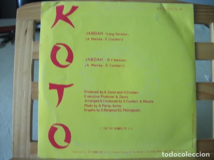 Discos de vinilo: SINGLE DE KOTO , JABDAH (2 VERSIONES), AÑO 1987, VINILO EN MUY BUEN ESTADO - Foto 2 - 175359517
