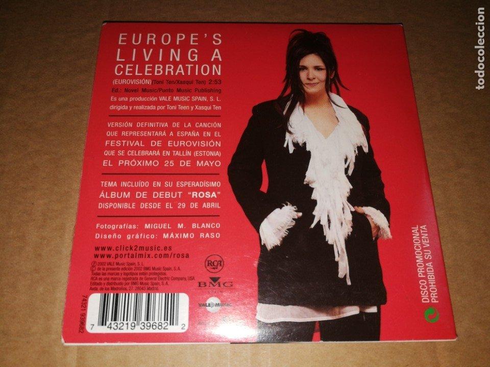 Discos de vinilo: ROSA Europe´s living a celebration CD SINGLE PROMOCIONAL DE CARTON AÑO 2002 TEMA FESTIVAL EUROVISION - Foto 2 - 252268080