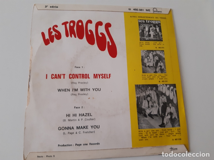 Discos de vinilo: LES TROGGS- I CAN´T CONTROL MYSELF - FRENCH EP 1966. - Foto 2 - 175412975