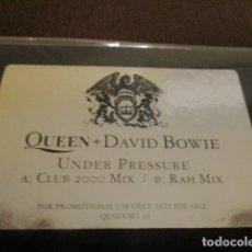 Discos de vinilo: QUEEN - DAVID BOWIE - UNDER PRESSURE - MAXI SINGLE - CLUB 2000 MIX + RAH MIX - PROMO - QUEEWL28. Lote 175523528
