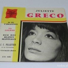 Discos de vinilo: SINGLE - JULIETTE GRECO - SI TU T'IMAGINES - LA FOURMI. Lote 175556338
