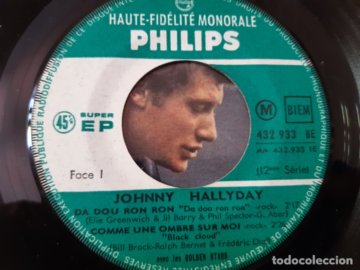 Discos de vinilo: JOHNNY HALLYDAY- DA DOU RON RON- FRENCH EP 1963 + LENGÜETA. - Foto 3 - 175597203