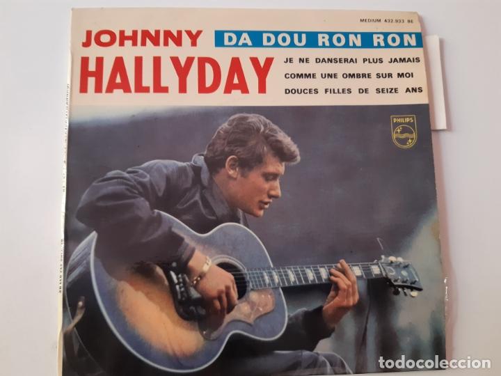 JOHNNY HALLYDAY- DA DOU RON RON- FRENCH EP 1963 + LENGÜETA. (Música - Discos de Vinilo - EPs - Canción Francesa e Italiana)