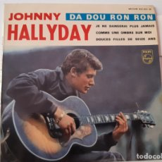 Discos de vinilo: JOHNNY HALLYDAY- DA DOU RON RON- FRENCH EP 1963 + LENGÜETA.. Lote 175597203