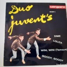 Discos de vinilo: DUO JUVENT´S- GOODY, GOODY - EP 1963 - VINILO COMO NUEVO.. Lote 175604262