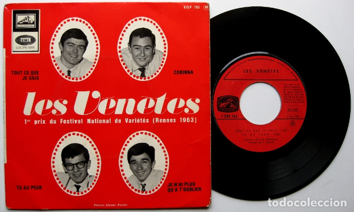 LES VÉNÈTES (C.M.SCHÖNBERG) - TOUT CE QUE JE SAIS - EP LA VOIX DE SON MAÎTRE 1965 FRANCE BPY (Música - Discos de Vinilo - EPs - Canción Francesa e Italiana)