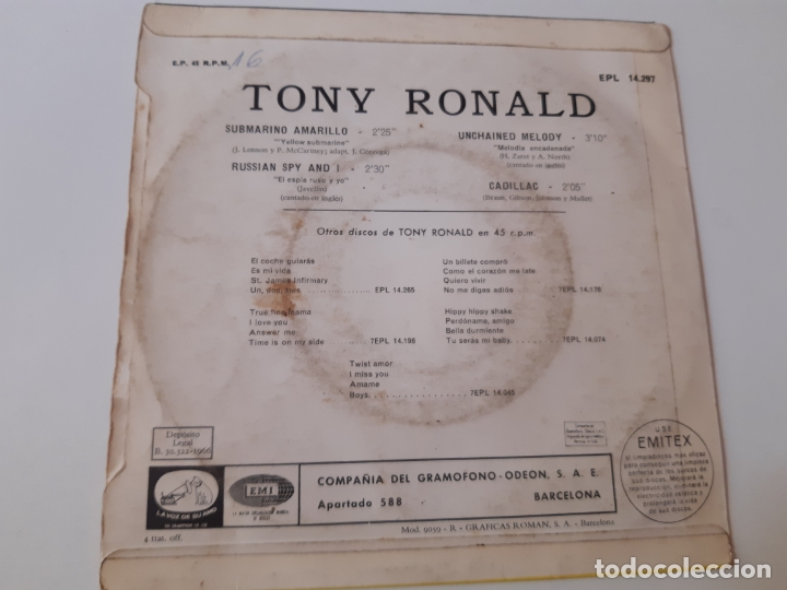 Discos de vinilo: TONY RONALD- SUBMARINO AMARILLO - EP 1966- THE BEATLES. - Foto 2 - 175608970