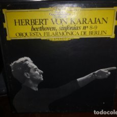 Discos de vinilo: DOBLE DISCO. HERBERT VON KARAJAN SINFONIAS Nº8-9 DE BEETHOVEN.. Lote 175700844