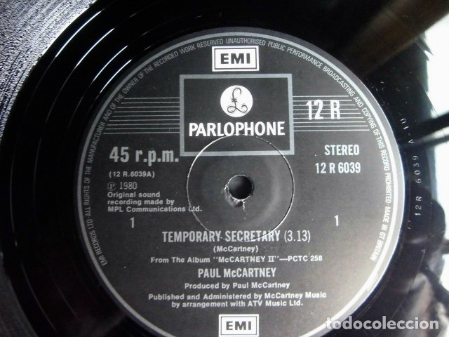 Discos de vinilo: BEATLES PAUL McCARTNEY MAXI SINGLE ADVANCE 1980 NUEVO ENGLAND TEMPORARY SECRETARY - Foto 5 - 175766893