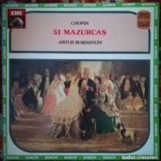 Discos de vinilo: CHOPIN, 51 MAZURCAS INTERPRETADAS AL PIANO POR RUBINSTEIN. 2 VINILOS. Lote 175843563