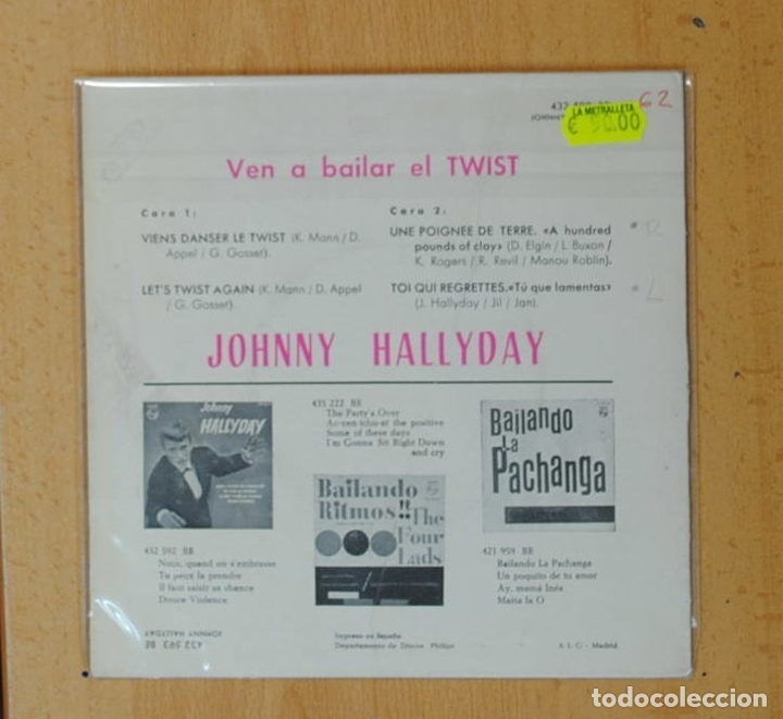 Discos de vinilo: JOHNNY HALLYDAY - VEN A BAILAR EL TWIST - VIENS DANSER LE TWIST + 3 - EP - Foto 2 - 175957277