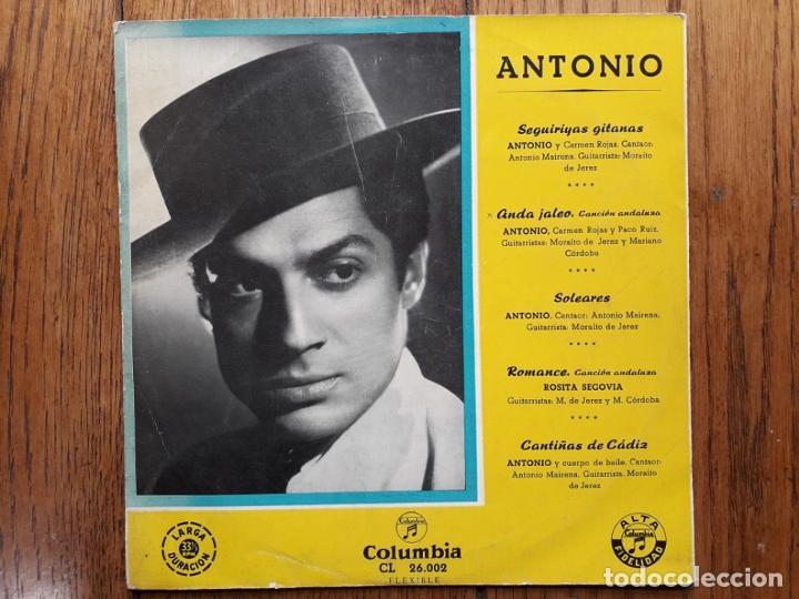 ANTONIO - DISCO 25 CM. - SEGUIRIYAS GITANAS + ANDA JALEO + SOLEARES + ROMANCE + CANTIÑAS DE CADIZ (Música - Discos - LP Vinilo - Flamenco, Canción española y Cuplé)