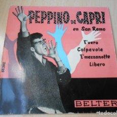 Disques de vinyle: PEPPINO DE CAPRI EN SAN REMO, EP, E´VERO + 3, AÑO 1960. Lote 175974470