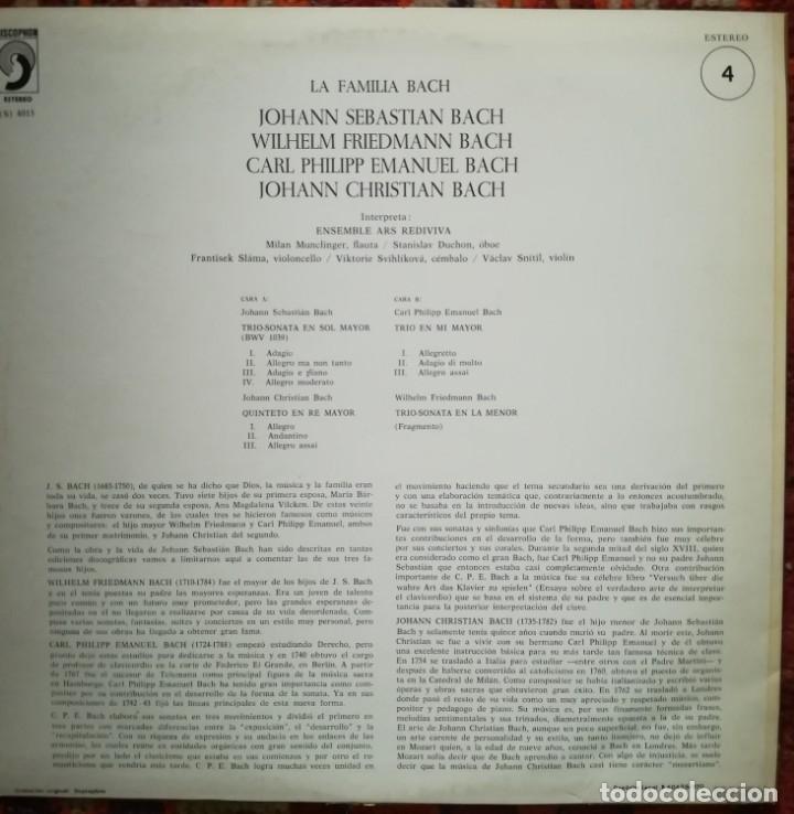 Discos de vinilo: La familia Bach.Obras interpretadas por el Ensemble Ars Rediviva - Foto 2 - 176047768