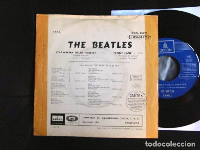 Discos de vinilo: BEATLES SINGLE EMI ODEON ESPAÑA REFERENCIA 1J VINILO SIN USO MARAVILLA - Foto 5 - 176073333