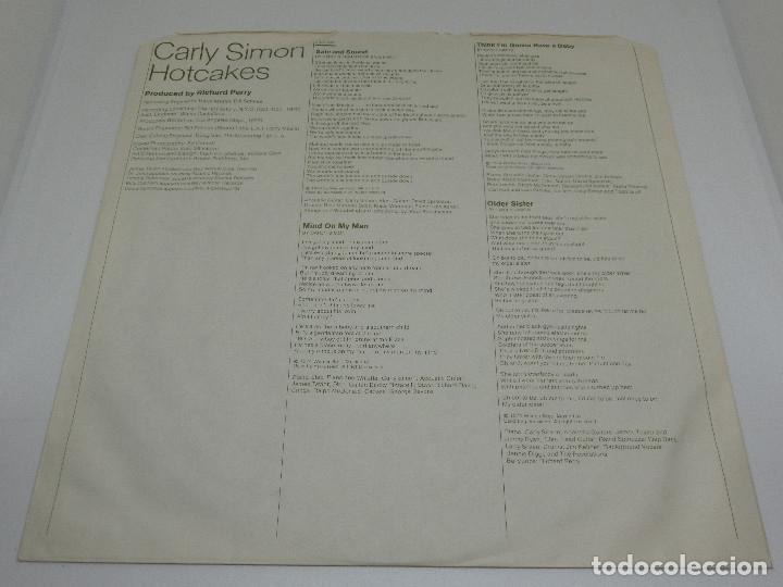 Discos de vinilo: LP - CARLY SIMON - HOTCAKES - GATEFOLD - CARPETA DOBLE - FUNDA CON LETRAS - 1974 - Foto 4 - 176144430