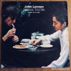 Discos de vinilo: JOHN LENNON NOBODY TOLD ME SINGLE ESPAÑA BIEN CONSERVADO. Lote 176150205