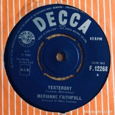 Discos de vinilo: MARIANNE FAITHFULL YESTERDAY (THE BEATLES) SINGLE INGLES EXC. Lote 176154575