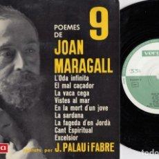 Discos de vinilo: POEMES DE JOAN MARAGALL RECITADOS POR J. PALAU I FABRE - EP DE VINILO #. Lote 176198847