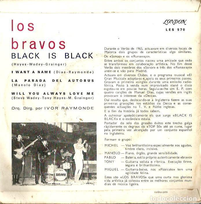 Discos de vinilo: EP LOS BRAVOS : BLACK IS BLACK (EDICION PORTUGAL, EXCELENTE ESTADO ) - Foto 2 - 176223429