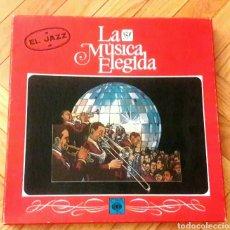 Discos de vinilo: EL JAZZ COLECCION LA MÚSICA ELEGIDA CAJA CON 4 VINILOS LP Y LIBRO 1982 EL JAZZ.GOROSTIAGA, ENRIQUE.. Lote 176224685