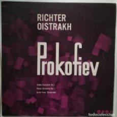 Discos de vinilo: PROKOFIEV.CONCIERTO VIOLIN N1,CONCIERTO PIANO N1,SUITE CENICIENTA RICHTER(PIANO) Y OISTRAKH(VIOLIN). Lote 176232880