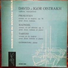 Discos de vinilo: PROKOFIEV. HAENDEL Y TARTINI. OBRAS INTERPRETADAS POR I. Y D. OISTRAKH. Lote 241906950