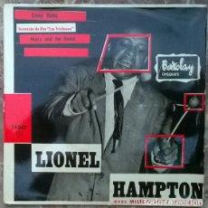 Discos de vinilo: LIONEL HAMPTON & MILTON MEZZ MEZZROW. CRAZY HAMP LES TRICHEURS BSO. BARCLAY 74043, FRANCE 1962 . Lote 176290110