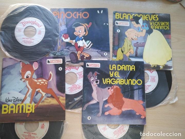 LOTE 4 CUENTODISCO COMPLETOS + 1 SINGLE PINOCHO+BLANCANIEVE BAMBI LA DAMA Y.(WALT DISNEY)BRUGUERA, (Música - Discos - Singles Vinilo - Música Infantil)