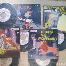 Discos de vinilo: LOTE 4 CUENTODISCO COMPLETOS + 1 SINGLE PINOCHO+BLANCANIEVE BAMBI LA DAMA Y.(WALT DISNEY)BRUGUERA,. Lote 176298888