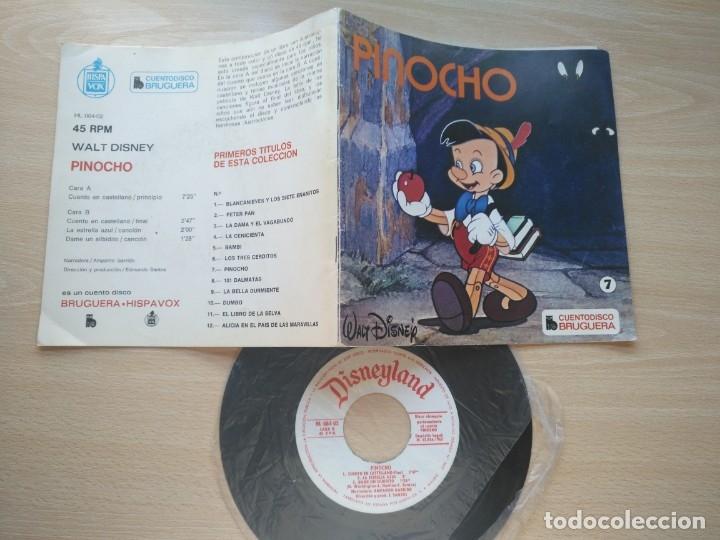 Discos de vinilo: LOTE 4 CUENTODISCO COMPLETOS + 1 SINGLE PINOCHO+BLANCANIEVE BAMBI LA DAMA Y.(Walt Disney)Bruguera, - Foto 2 - 176298888
