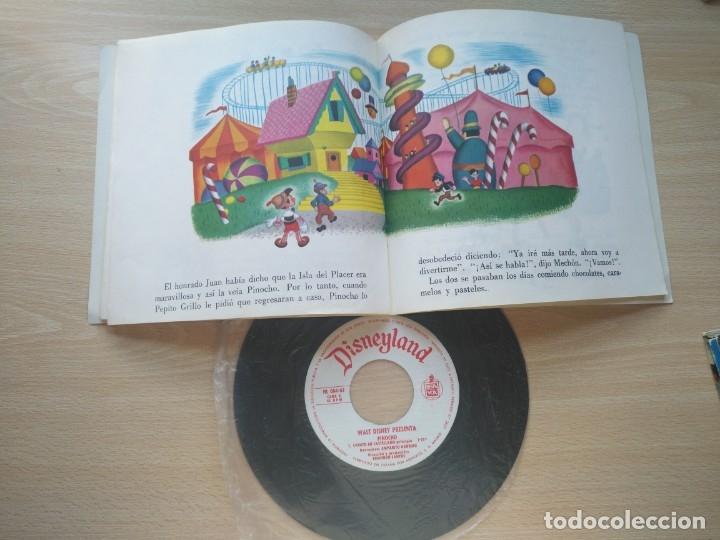 Discos de vinilo: LOTE 4 CUENTODISCO COMPLETOS + 1 SINGLE PINOCHO+BLANCANIEVE BAMBI LA DAMA Y.(Walt Disney)Bruguera, - Foto 3 - 176298888
