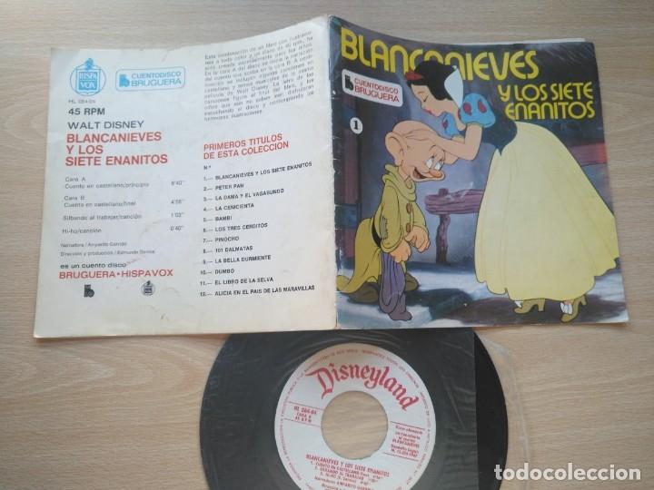 Discos de vinilo: LOTE 4 CUENTODISCO COMPLETOS + 1 SINGLE PINOCHO+BLANCANIEVE BAMBI LA DAMA Y.(Walt Disney)Bruguera, - Foto 4 - 176298888