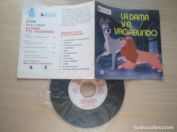 Discos de vinilo: LOTE 4 CUENTODISCO COMPLETOS + 1 SINGLE PINOCHO+BLANCANIEVE BAMBI LA DAMA Y.(Walt Disney)Bruguera, - Foto 6 - 176298888
