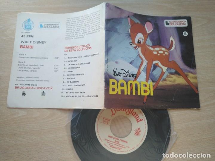Discos de vinilo: LOTE 4 CUENTODISCO COMPLETOS + 1 SINGLE PINOCHO+BLANCANIEVE BAMBI LA DAMA Y.(Walt Disney)Bruguera, - Foto 8 - 176298888